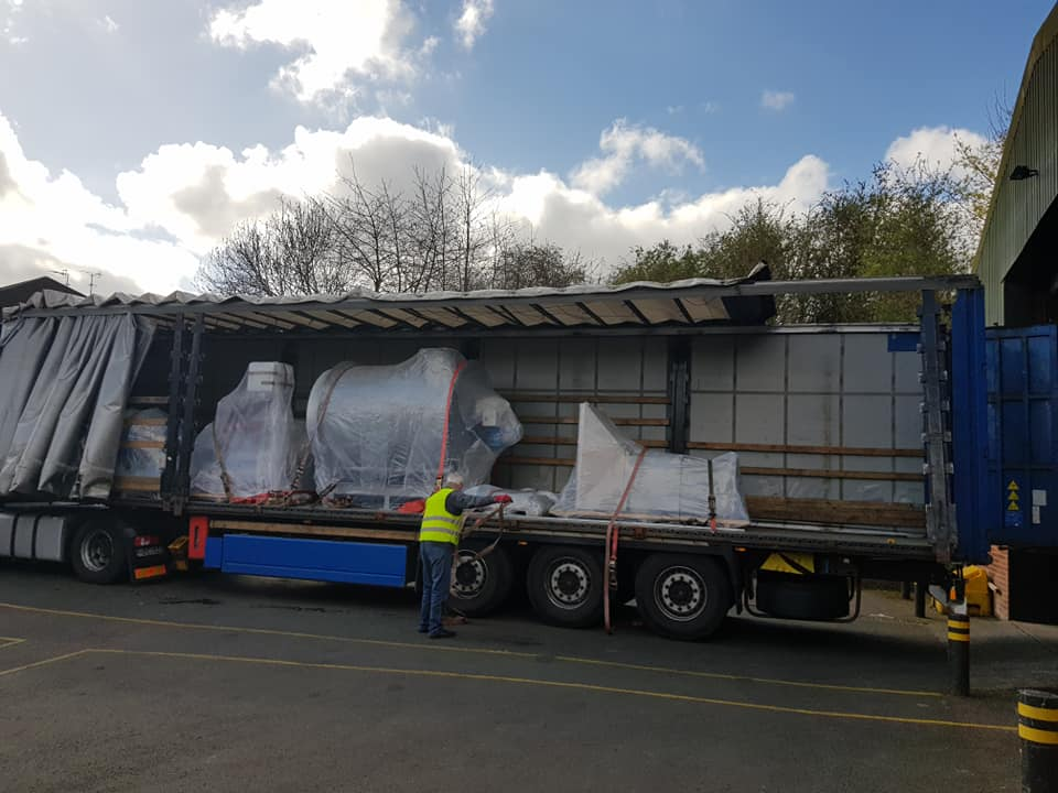 groupage transport being loaded into a lorry